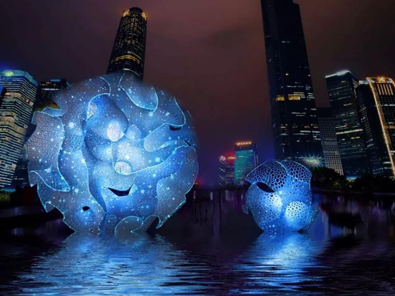 """Barraca soberba"" e ""universidade de tecnologia do sul da china"" de mãos dadas 2019 guangzhou international light festival"